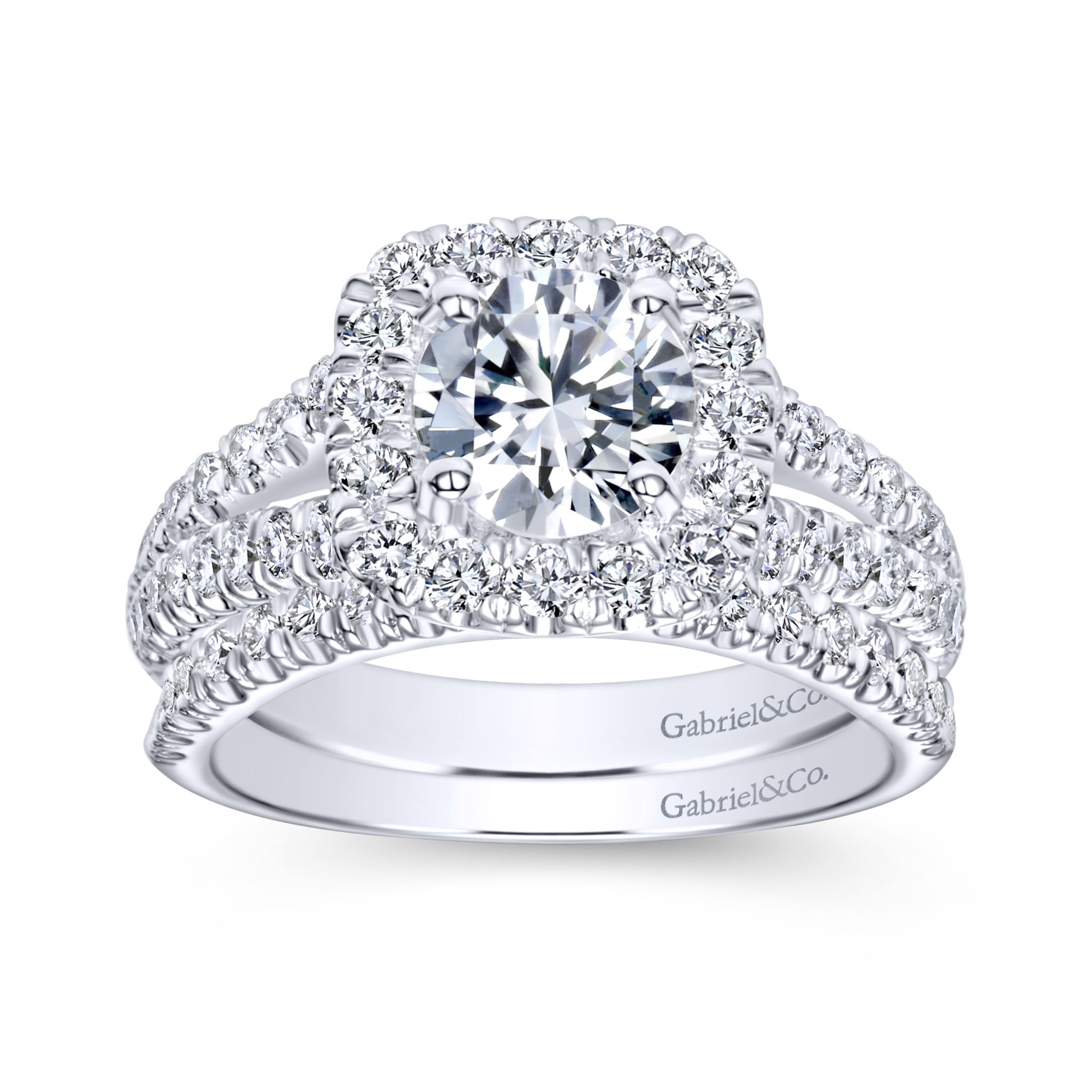 14K White Gold Round Halo Diamond Engagement Ring by Gabriel & Co