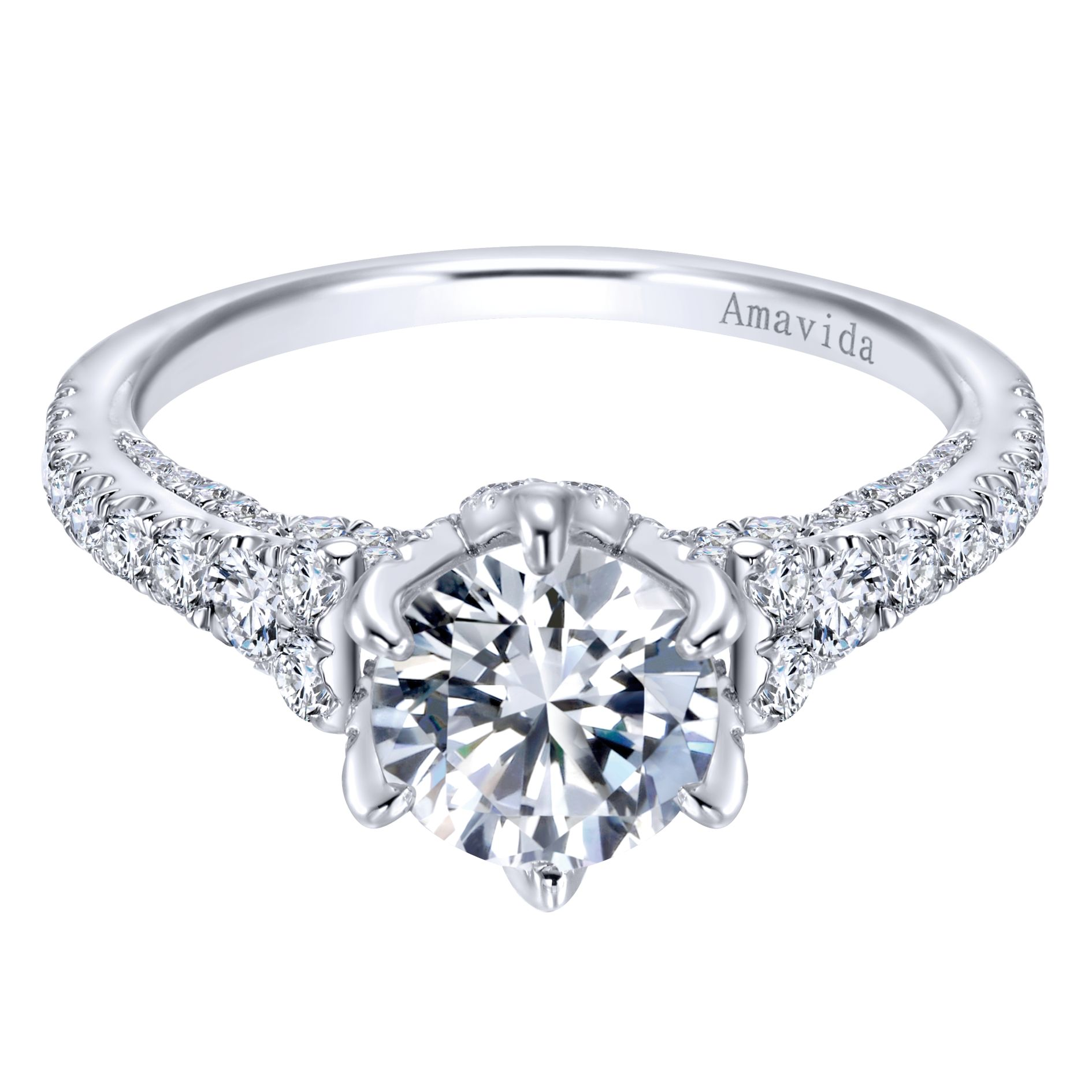 WHITE GOLD ROUND STRAIGHT DIAMOND ENGAGEMENT RING by Gabriel & Co