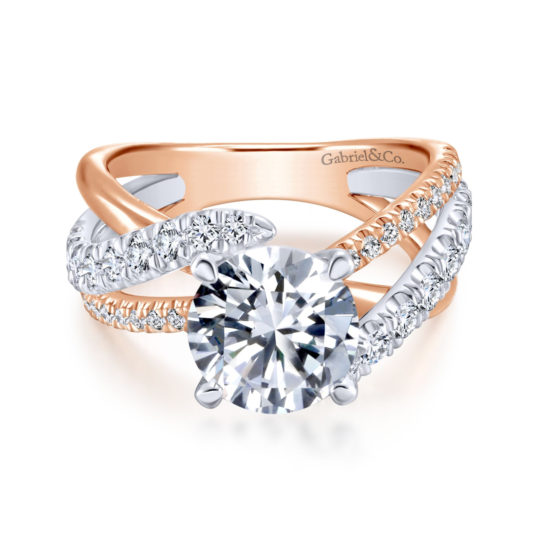 WHITE/ROSE GOLD ROUND FREE FORM DIAMOND ENGAGEMENT RING by Gabriel & Co