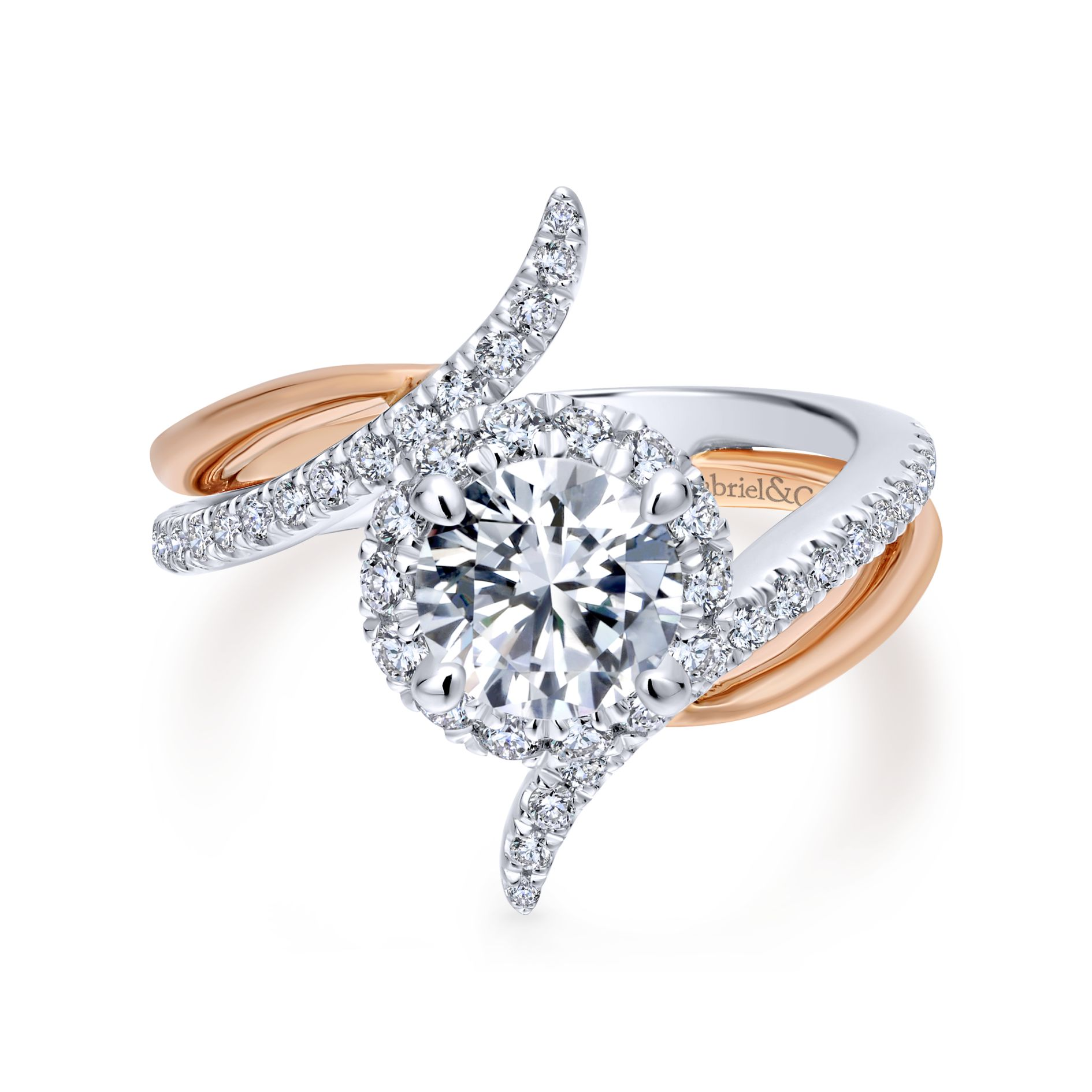 WHITE/ROSE GOLD ROUND HALO DIAMOND ENGAGEMENT RING by Gabriel & Co