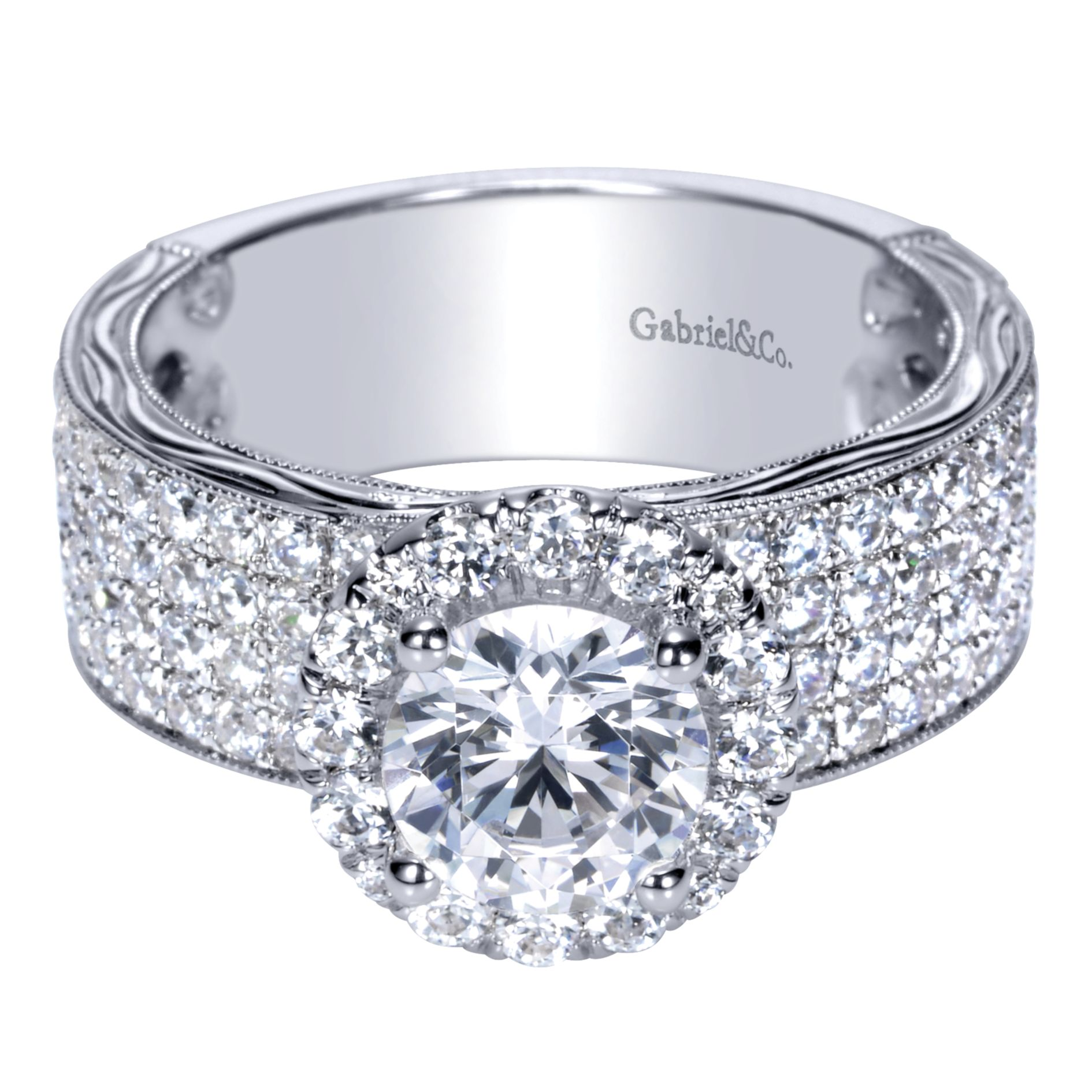 WHITE GOLD ROUND HALO DIAMOND ENGAGEMENT RING by Gabriel & Co