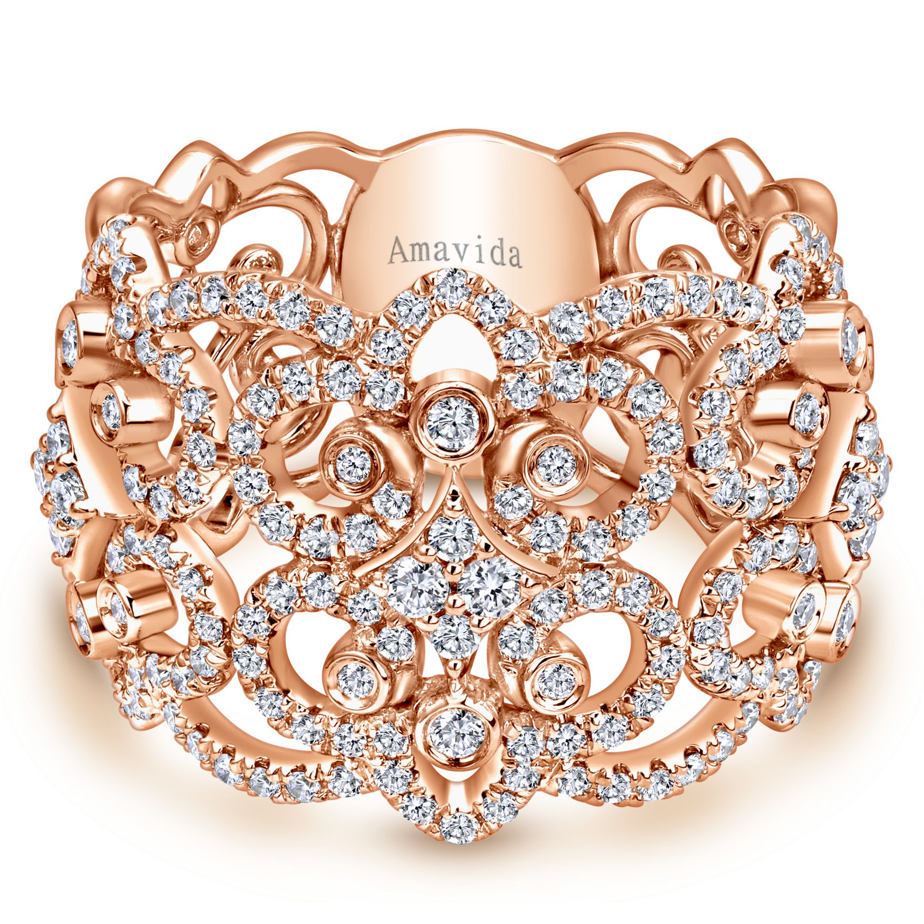ROSE GOLD WIDE BAND DIAMOND LADIES RING by Gabriel & Co