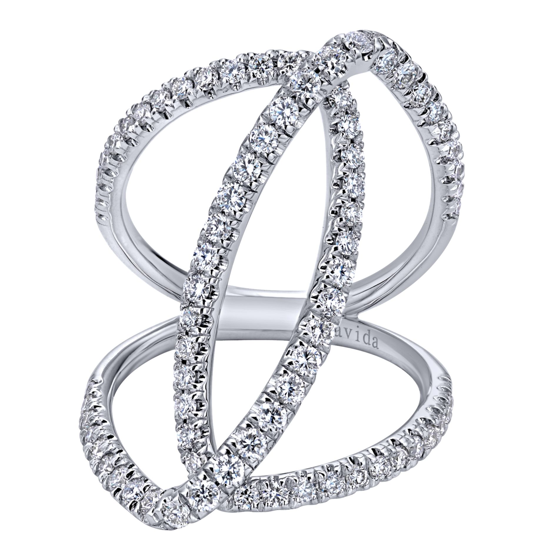 WHITE GOLD WIDE BAND DIAMOND LADIES RING by Gabriel & Co