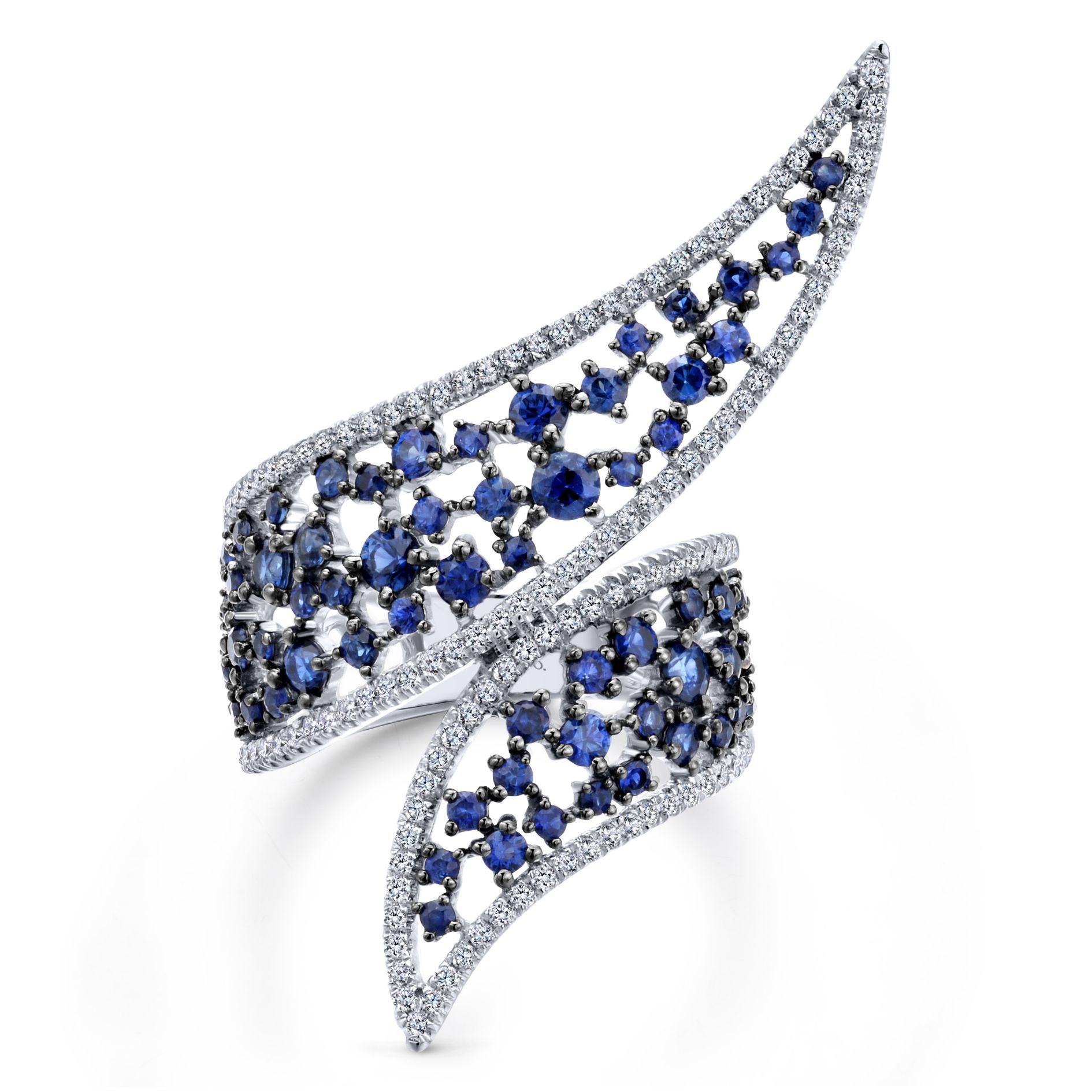DIAMOND AND SAPPHIRE LADIES RING by Gabriel & Co